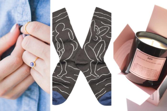 Etsy Mini Mood Ring  ($21),  Bonne Maison Mid-Calf Socks  ($22.50),  Boy Smells Ash Candle  ($29)