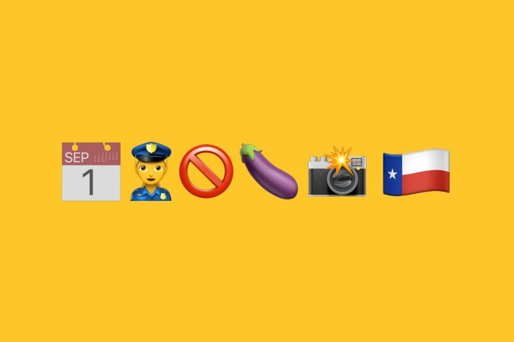 A bright yellow image with a calendar, police, eggplant, camera, and Texas state flag emoji.