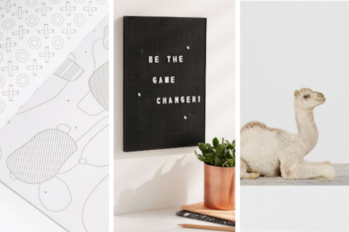 Modernist's Coloring Book  ($18),  Peg Board  ($24),  Baby Camel No. 2 Print  (from $24)
