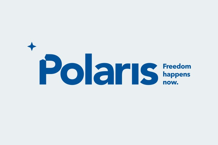 An image showing the blue font logo for Polaris, a nonprofit organization dedicated to stopping human trafficking.