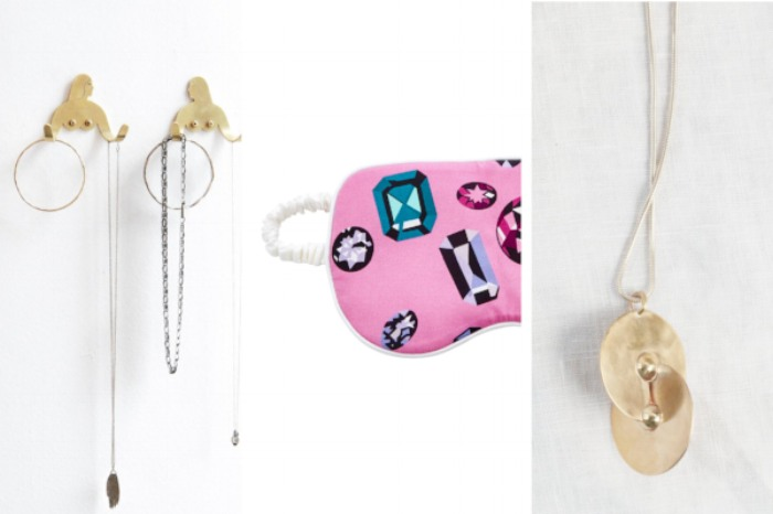 Kay Blegvad Female Support System Brass Hooks  ($45),  Olivia Von Halle Silk Eye Mask ($105),  Hey Murphy Double Circle Necklace ($125)